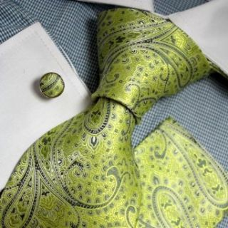 Green Patterned Woven Silk Tie Handkerchiefs Cufflinks