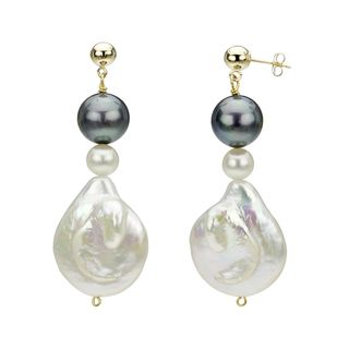 14k Yellow Gold White and Black Freshwater Pearl Drop Earrings (6 25