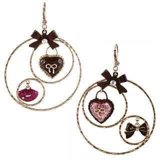Betsey Johnson Heart Bow Gypsy Hoop Earrings
