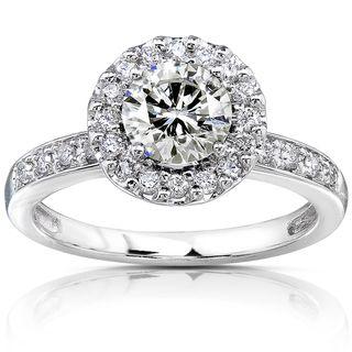 14k Gold Moissanite and 1/4ct TDW Diamond Engagement Ring (G H, I1 I2