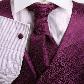 Mens Purple Patterned Dress Vest Formal Vest for Wedding