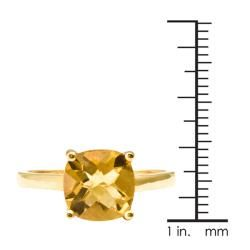 10k Yellow Gold Cushion cut Citrine Solitaire Ring