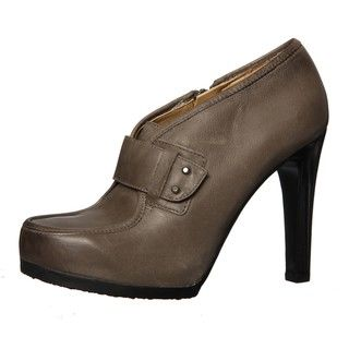 Nine West Womens Bevel Dark Grey Leather Booties FINAL SALE