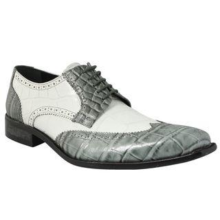 Giorgio Brutini Mens Gray/ White Leather Oxfords