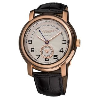 Akribos XXIV Mens Automatic Retrograde Date Leather Strap Watch