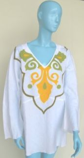 Moroccan Embroidered Linen Tunic Kurta Shirt White