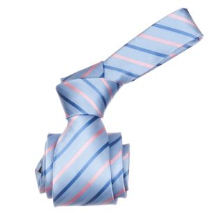 Republic Mens Light Blue/ Pink Striped Microfiber Neck Tie