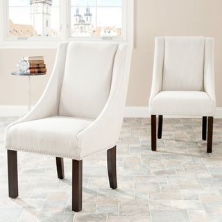 Sloping Arm Beige Polyester Nailhead Dining Chairs (Set of 2