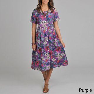 La Cera Womens Floral print Short sleeve Button front Dress