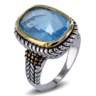 Two tone Aqua Blue Resin Stone Antiqued Ring