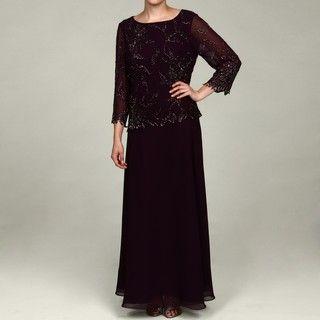 Laxmi Womens Plum Sequin Dress