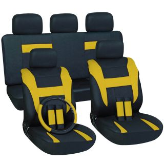 16 piece Yellow Car Seat Cover Automotive Set