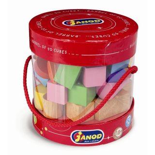 Janod Baril 50 cubes en bois de différentes formes   Achat / Vente