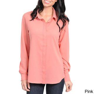 Stanzino Womens Long Sleeve Button Down Shirt