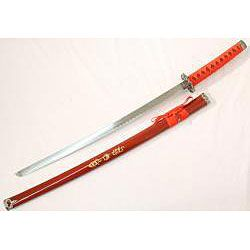 Ying Yang Symbol 40 inch Red Japanese Samurai Sword Set