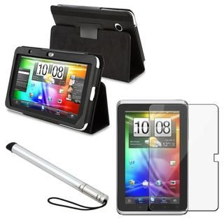 Black Leather Case/ Screen Protector/ Stylus for HTC Flyer
