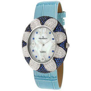 Peugeot Womens Blue Oval Flower Watch