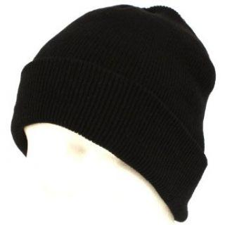 Winter Thinsulate Knit Ski Beanie Skull Hat 2ply Black