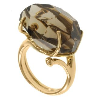 Michael Valitutti Gold Smokey Quartz Ring