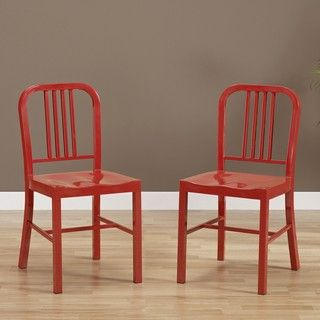 Red Metal Side Chairs (Set of 2)