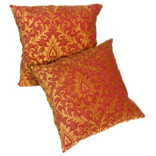Red/Gold Chenille Damask 18 inch Pillows (Set of 2)