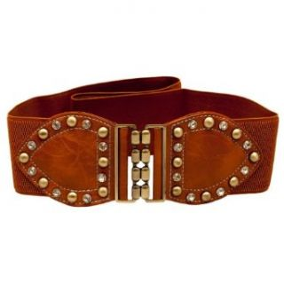 Plus Size Rhinestone Studded Elastic Belt Brown   One Size