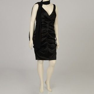Onyx Nite Womens Plus Size Black Ruched Satin Dress