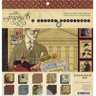 Graphic 45 A Proper Gentleman Scrapbooking Paper Pack