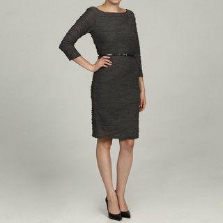 Sharagano Womens Charcoal Wavy Knit Dress