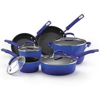 Rachael Ray II Blue Porcelain Enamel Nonstick 10 Piece Cookware Set
