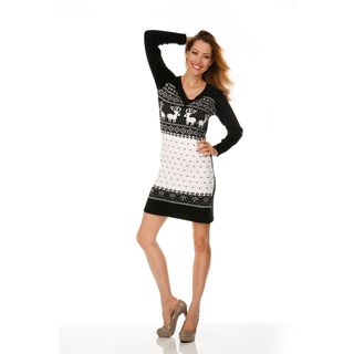White Mark Womens Boston Black/ White Sweater Dress