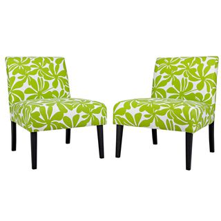 Portfolio Niles Green Floral Paisley Armless Chairs (Set of 2