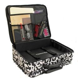 World Traveler Womens Damask Print Rolling Laptop Tote