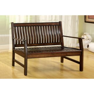 Dark Walnut Finish Curved Slat back Bench