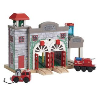 Thomas Deluxe Fire Station Wooden Rail Set