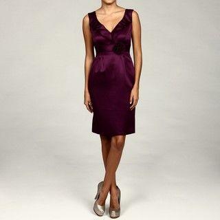 Tahari ASL Womens Burgundy Ruffle Dress