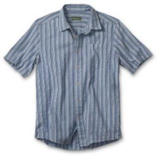 Eddie Bauer Seersucker Shirt, Blue XXL Tall Clothing
