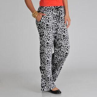 Pink Collection Womens White/ Black Animal Print Palazzo Pants