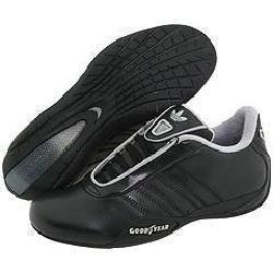 adidas Kids Goodyear Race Leather (Toddler/Youth) Black/Black/Aluminum