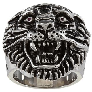 Ed Hardy Stainless Steel Large Tiger Head Cubic Zirconia Ring