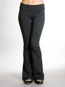 Ladies Foldover Cotton Spandex Yoga Pants, Charcoal Gray
