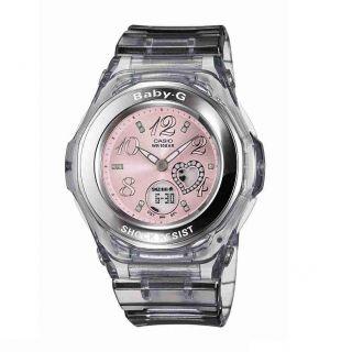 Casio Womens Baby G Grey/ Pink Gem Dial Analog Sport Watch