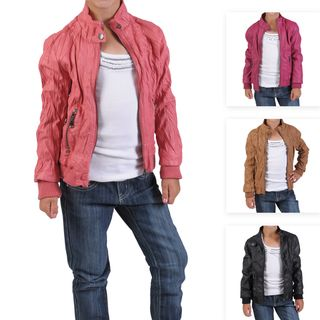 Journee Collection Kids Crinkled Zippered PVC Leather Jacket