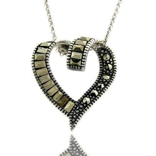 Sterling Silver Marcasite Ribbon Heart Necklace