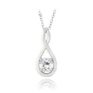 Glitzy Rocks Sterling Silver White Topaz Infinity Twist Necklace