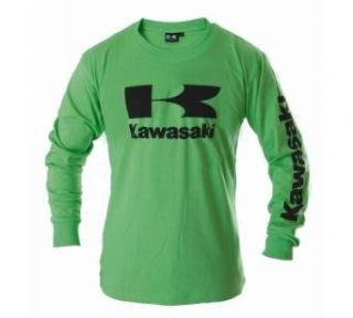 Kawasaki Stacked Logo Long Sleeve T Shirt (XX Large, Green