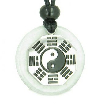 Yin Yang BA GUA Eight Trigrams Amulet White Jade Magic