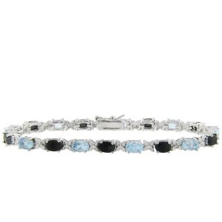 Sterling Silver Blue Topaz, Sapphire and Diamond Accent Bracelet