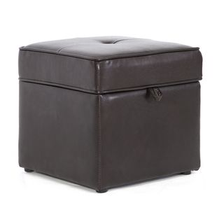 Sydney Dark Brown Faux Leather Ottoman