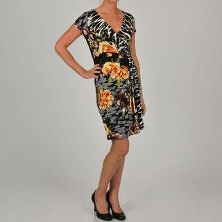 Tiana B Womens Zebra Floral Printed Dress